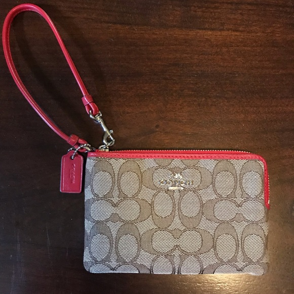 Coach Handbags - Coach Khaki & Red Jacquard Saddle Wristlet Wallet